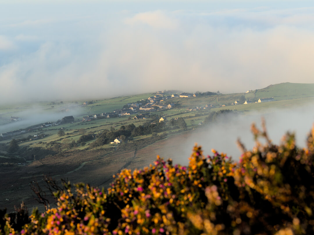 The Village of Llithfaen Surrounded by a Cloud Inversion at Sunrise