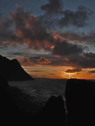 Trefor Sea Stacks at Sunset With Nefyn and Yr Eifl in the Background